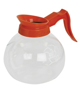 Newco 100510 12 Cup 64 oz. 1.9L Glass Decanter Orange Handle