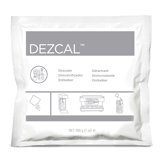 Urnex DEZPRO7 DEZCAL Activated Scale Remover Powder (24) 7 oz.